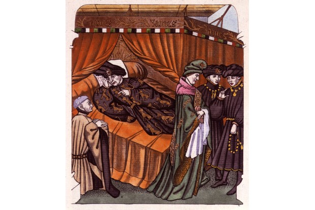 Charles VI, King of France, is attended in his bedchamber by servants and ministers, c1400. (Photo by Hulton Archive/Getty Images)