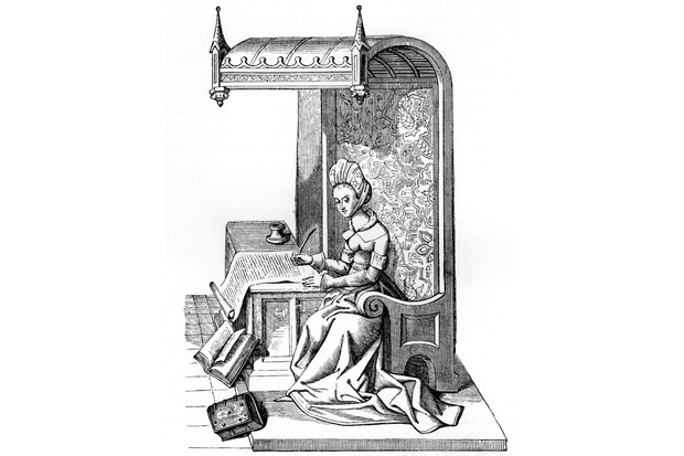 Christine de Pizan, seated on a chair in carved wood with back canopy, and tapestry of worsted or figured silk. The box or chest which formed the writing table contained books. CP: Contemporary with Charles V and Charles VI. Miniature from a M.S in the Burgundy Library, Brussels, 15th century. (Photo by Culture Club/Getty Images) *** Local Caption ***