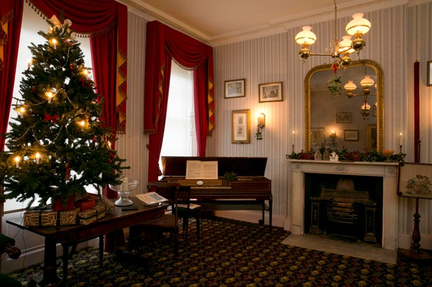 The drawing room at 48 Doughty Street, set up for Christmas. (Photo by Charles Dickens Museum)
