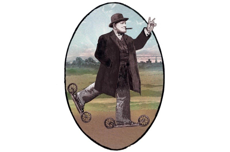 Winston Churchill on roller skates