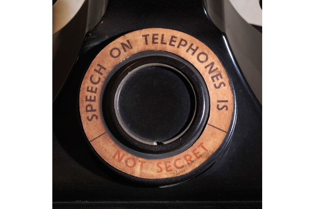 Telephone from General Ismay's room. The stark cautionary message on this telephone reveals the importance of secrecy above all else. (© IWM SITE CWR 617)