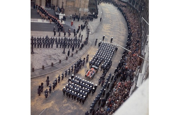 The funeral cortege of Winston Churchill arrives at St Paul's Cathedral during his state funeral, 30 January 1965, where commentators bemoaned the end of an era. (Photo by Fox Photos/Hulton Archive/Getty Images)