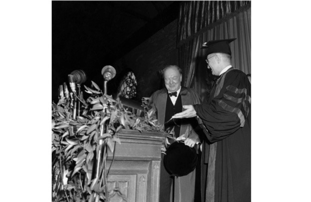 President Harry Truman introduces Winston Churchill, before his speech at Westminster College. Truman later insisted that his presence next to Churchill on the gymnasium platform did not indicate any endorsement of the speech. (Photo by Bettmann/Getty)