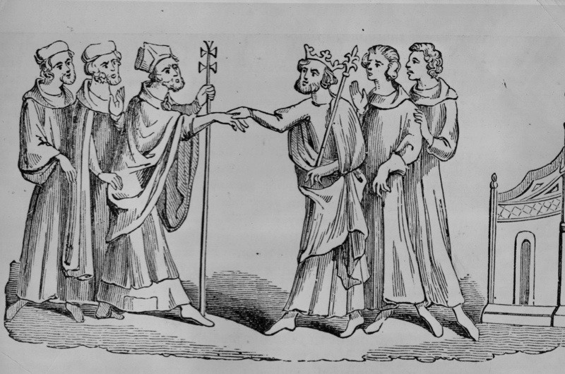 The reconcilliation between Thomas Becket and Henry II. (Photo by Hulton Archive/Getty Images)