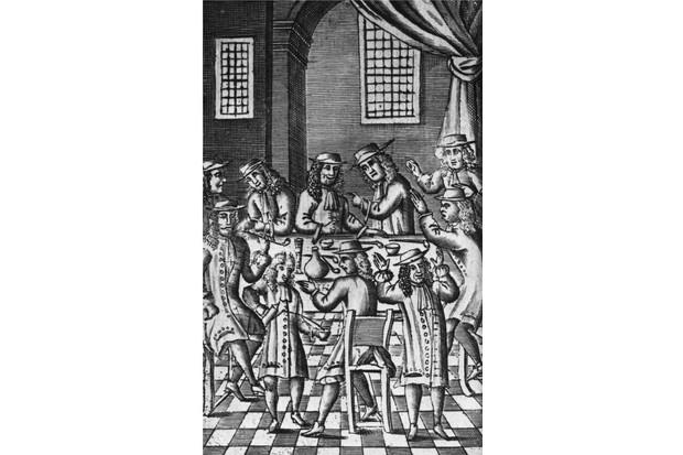 Debate in a coffee house in Bride Lane, Fleet Street, London, 1688. (Photo by Hulton Archive/Getty Images)