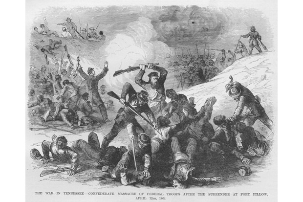 Confederate Troops Massacre at Fort Pillow; Black troops Massacred by Nathan Bedford Forest, Henning, Tennessee, April 12, 1864. From an issue of Frank Leslie's Illustrated Almanac. (Photo by Buyenlarge/Getty Images)
