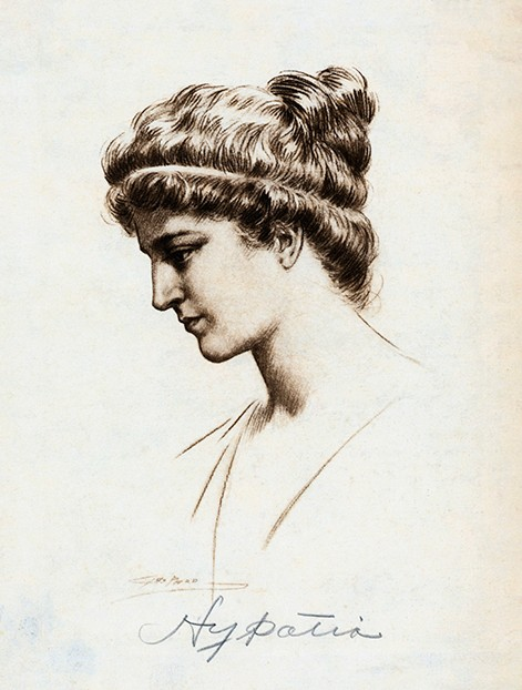 Original caption: Portrait of Hypatia (375-415AD), a Greek woman mathematician and philosopher who was murdered by an angry mob. Undated illustration. --- Image by © Corbis