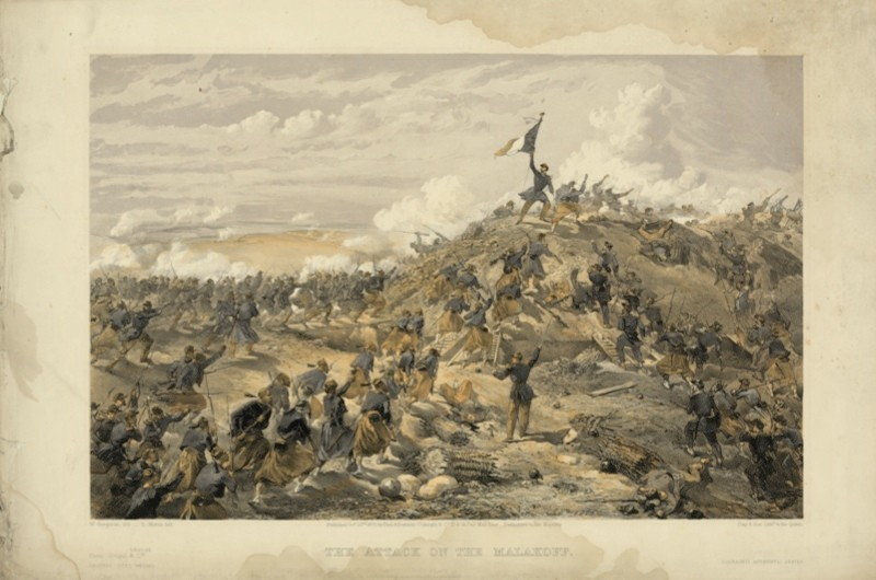 The attack on the Malakof – print shows the French assault on the Malakof, the main Russian fortification before Sevastopol. (Library of Congress Prints and Photographs Division Washington DC)