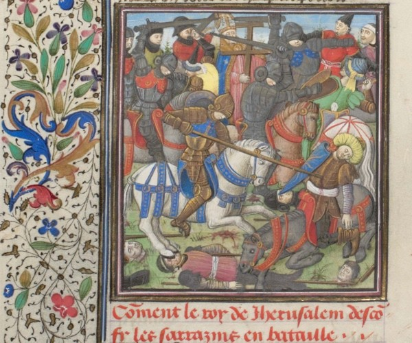A battle during the crusades. Miniature from the 'Historia' by William of Tyre, 1460s. (Fine Art Images/Heritage Images/Getty Images)