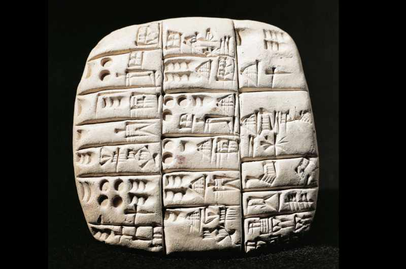 A counting of goats and rams in cuneiform script, ancient Ngirsu, Iraq, 2360 BC. (DEA / G. DAGLI ORTI/De Agostini/Getty Images)
