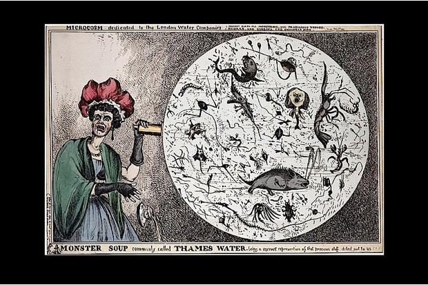 Coloured satirical engraving of a woman investigating the Thames.