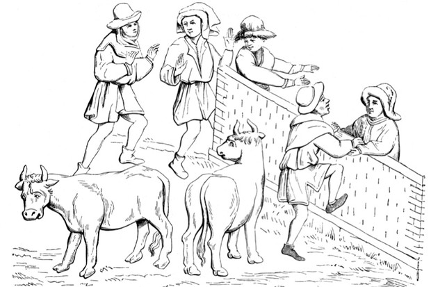 Peasants in the Middle Ages at a cattle market. Cows appear to have been difficult to manage in the medieval period, and caused several deaths. (Photo by INTERFOTO /Alamy)