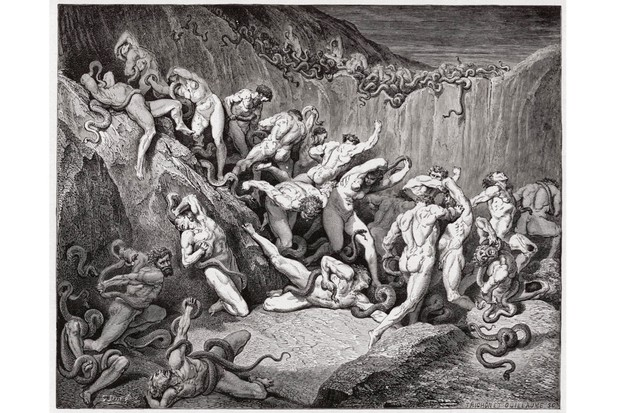 Illustration from Dante's 'Inferno', the first part of Dante Alighieri's 14th-century epic poem 'Divine Comedy', depicting thieves tormented in hell by serpents. Engraving by Gustave Dore, 1885. (Photo by Stefano Bianchetti/Corbis via Getty Images)