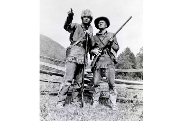 Davy Crockett (Fess Parker) and his sidekick, George Russell (Buddy Ebsen) in 'Davy Crockett, King of the Wild Frontier' (1955). (Photo by ABC Photo Archives/ABC via Getty Images)