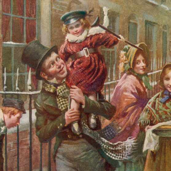 The characters Bob Cratchit and Tiny Tim, from Charles Dickens's work 'A Christmas Carol'. (Photo by Alamy/Mary Evans)