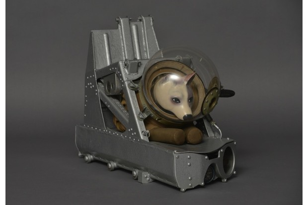 Dog ejector seat and suit as used on Soviet suborbital rocket flights, c1955