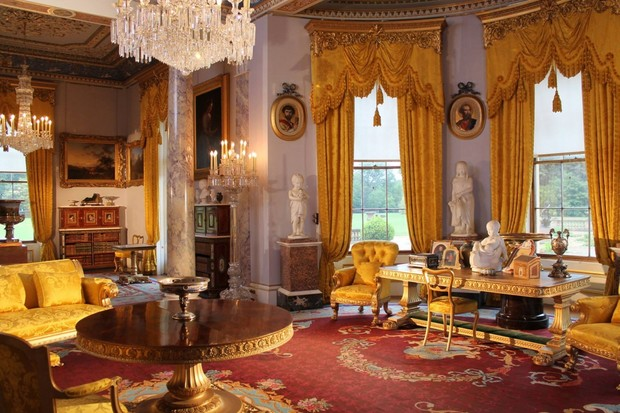 The drawing room at Osborne was restored in 2003 to reflect how it would have looked in the 1890s. Visiting foreign royalty were received in this room, and Victoria usually retired here after dinner to play cards, sing, or play the piano. The cut-glass chandeliers were wired for electricity in 1893. (© English Heritage)