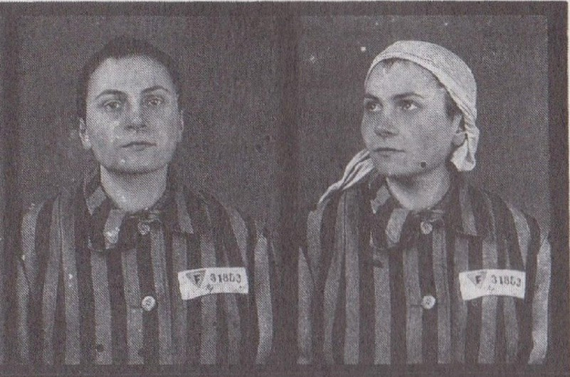 Marie-Louise Colombain, shown here in her prisoner photo from Auschwitz, was a partisan sergeant who carried out militant actions against the Nazis before her arrest in 1941. During her imprisonment at Auschwitz, she made clothes for the Nazi elite alongside the camp's other dressmakers. (Used with permission from Lucy Adlington/History Wardrobe)