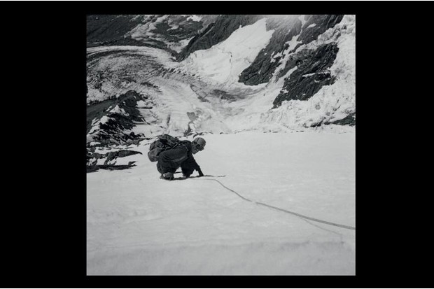 A photograph of Edmund Hillary on the first ascent and traverse of Elie de Beaumont