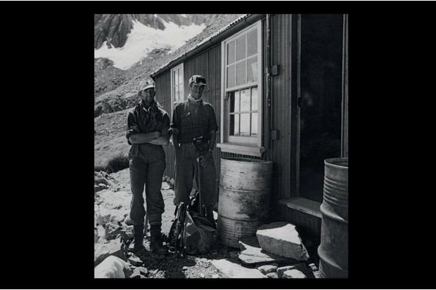 A photograph of Edmund Hillary and George Lowe at the Malte Brun Hut
