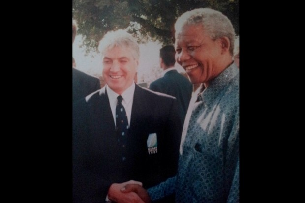Ed Morrison with Nelson Mandela. (Image: Ed Morrison)