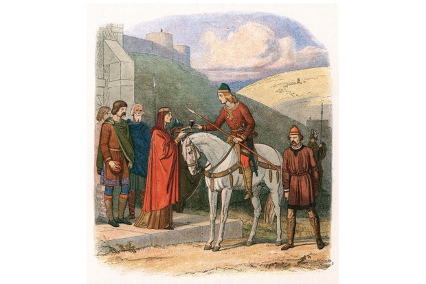 Edward the Martyr seen being offered a poisoned drink by his stepmother, Aelfthryth, at her home at Corfe Castle, Dorset. What role Aelfthryth played in the murder remains unclear. Image c1860. (Photo by Ann Ronan Pictures/Print Collector/Getty Images)