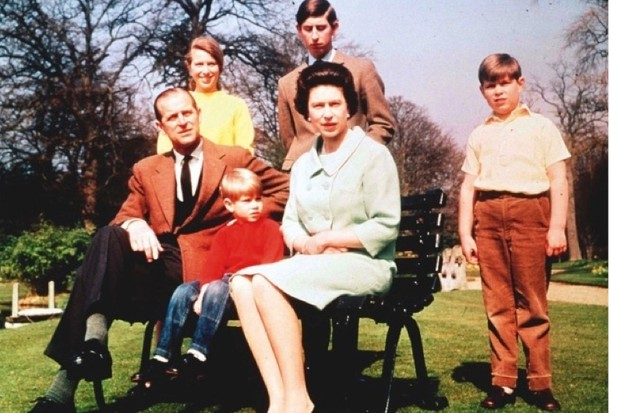 Elizabeth married Prince Philip in 1947 and they had four children (clockwise from left): Anne, Charles (the eldest), Andrew and Edward – shown here in 1968. (Photo by Popperfoto/Getty Images)