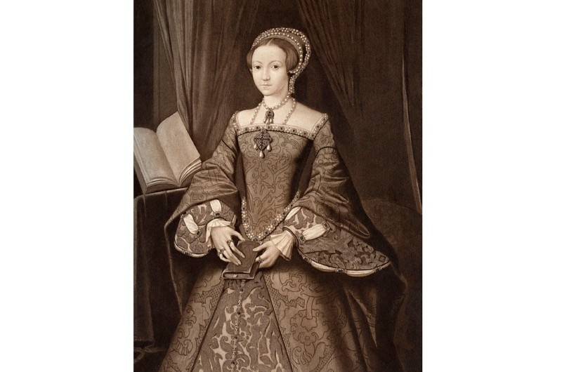 Portrait of the future Queen Elizabeth I (1533-1603) aged 14. Illustration after a picture in the Royal Collection at Windsor Castle. (Photo by The Print Collector/Print Collector/Getty Images)