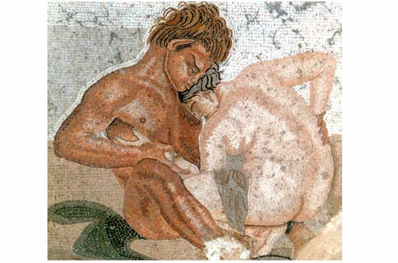 Pompeii wall painting depicting an erotic satyr and nymph