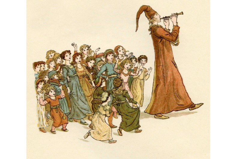 The Pied Piper of Hamelin. Illustration by Kate Greenaway, 1888. (Photo by Culture Club/Getty Images)