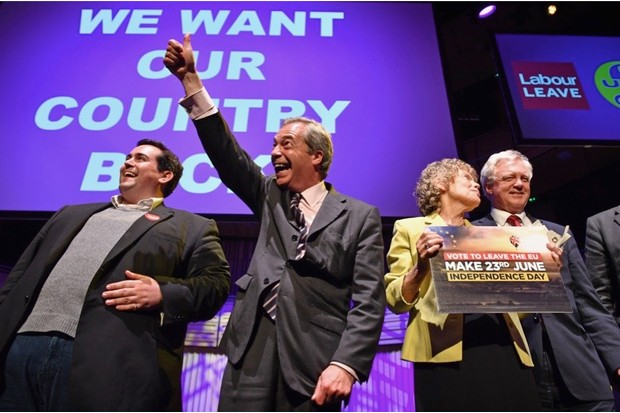 GATESHEAD, ENGLAND - JUNE 20:  UKIP Leader Nigel Farage MEP, reacts during the final 'We Want Our Country Back' public meeting of the EU Referendum campaign on June 20, 2016 in Gateshead, England. Campaigning continues across the UK as the country goes to the polls on Thursday, to decide whether Britain should leave or remain in the European Union.  (Photo by Jeff J Mitchell/Getty Images)