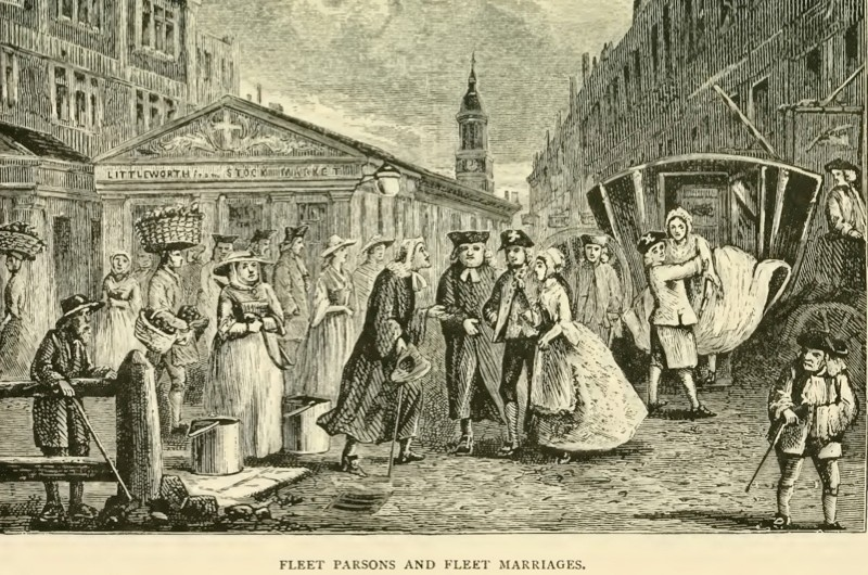 Between 1613 and 1754, a legal loophole meant that on-the-spot marriages could be carried out in an area surrounding the Fleet Debtors' Prison known as the 'Liberties of the Fleet'. (Photo by Getty Images)