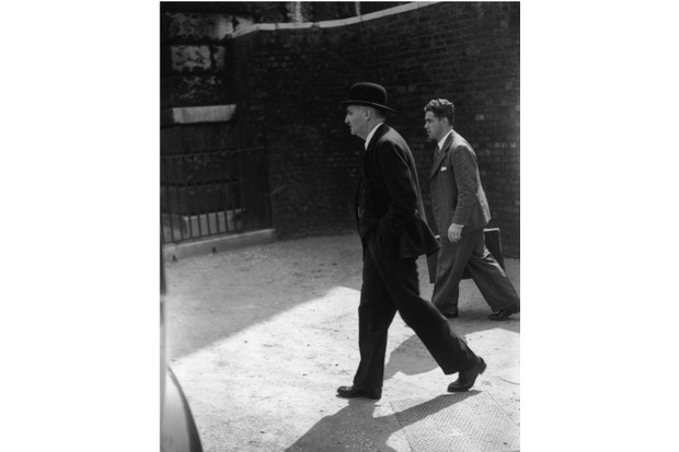 Frederick Lindemann arriving at Downing Street, London, on his appointment as scientific adviser to the British government, 21 May 1940. (Photo by HF Davis/Topical Press Agency/Hulton Archive/Getty Images)