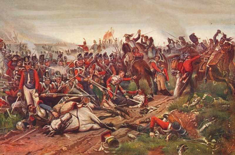 French cuirassiers charging a British infantry square at the battle of Waterloo, 1815 (1906). From Cassell's Illustrated History of England, Vol. V. (Cassell and Company Limited, London, Paris, New York, Melbourne). Artist P Jazet. (Photo by The Print Collector/Getty Images)