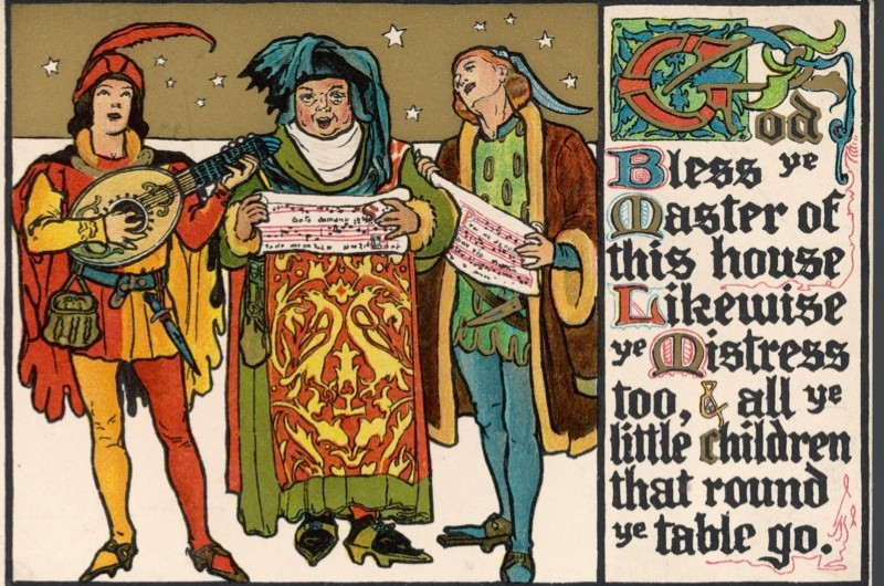 Three medieval carol singers, image dated 1911. (Photo by Chronicle/Alamy Stock Photo)