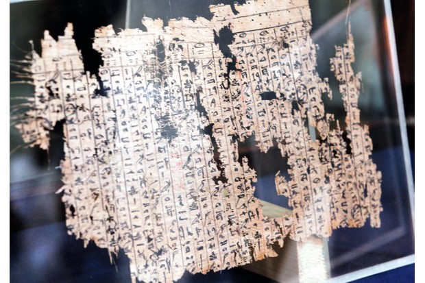 GDGDA8 epa05424228 The Papyri of King Khufu is displayed at the opening of the exhibition of 'The Papyri of Khufu from Wadi al-Jarf' for the first time at the Egyptian Museum in Tahrir Square, Cairo, Egypt, 14 July 2016. The Papyri was discovered in 2013 by a Franco-Egyptian mission, it shows the daily and style of life for workers during the reign of the fourth dynasty king Khufu. It also highlights the construction of the Great Pyramid at Giza plateau. EPA/KHALED ELFIQI