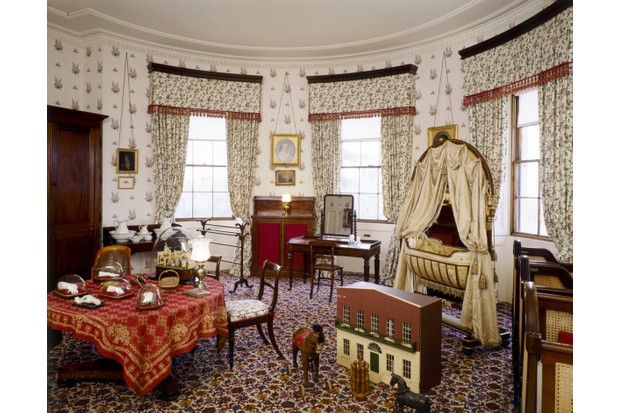 The nursery bedroom, sited immediately above Victoria and Albert's private apartments, was used by the royal children until the age of about 6. The swing cot was made for Vicky, the couple's first child, in 1840, while the table holds a number of baby limbs, sculpted in marble for the queen. (© English Heritage)