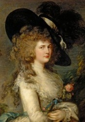 CTS407278 Portrait of Georgiana, Duchess of Devonshire, c.1785-87 (oil on canvas) by Gainsborough, Thomas (1727-88); 127x101.5 cm; Chatsworth House, Derbyshire, UK; (add.info.: Georgiana Cavendish (1757-1806) English aristocrat;); © Devonshire Collection, Chatsworth Reproduced by permission of Chatsworth Settlement Trustees; English,  out of copyright