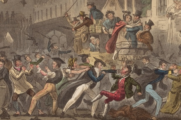 An 1824 cartoon depicting the drinking escapades of Oxford students. (Photo by Hulton Archive/Getty Images)