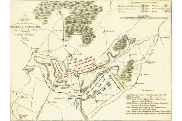 A plan of the battle of Waterloo. (Photo by Hulton Archive/Getty Images)