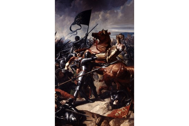 Battle of Castillon, 1453, last battle of the Hundred Years' War between England and France. Oil on canvas, 1838, by French painter Charles-Philippe Lariviere (1798-1876). (Photo by Universal History Archive/Getty Images)