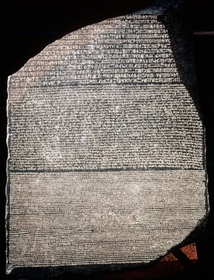 The discovery of the Rosetta Stone – an ancient Egyptian stone bearing writings in numerous languages – led our understanding of hieroglyphic writing. (Photo by Universal History Archive/Getty Images)