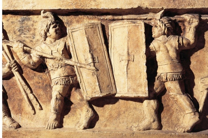 A relief portraying a Gladiator fight. (Photo By DEA / A. DAGLI ORTI/De Agostini/Getty Images)