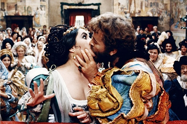 Elizabeth Taylor and Richard Burton star in the 1967 film adaptation of William Shakespeare's 'The Taming of the Shrew'. One of the playwright's most notorious couples, Katherine and Petruchio are far from a harmonious love match. (Photo by Silver Screen Collection/Getty Images)
