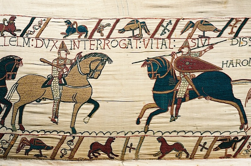 Detail from the Bayeux tapestry, which depicts the Norman conquest of England in 1066. (DeAgostini/Getty Images)
