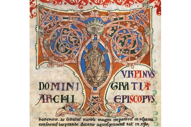 Charlemagne, as depicted in the Chronicles of Turpino from the 12th century.