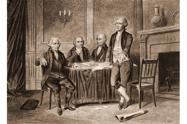 Illustration of four delegates to the Continental Congress that began in colonial America, 1774. From left to right, John Adams, Robert Morris, Alexander Hamilton, and Thomas Jefferson.