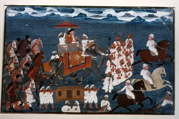 An East India Company official riding on an elephant