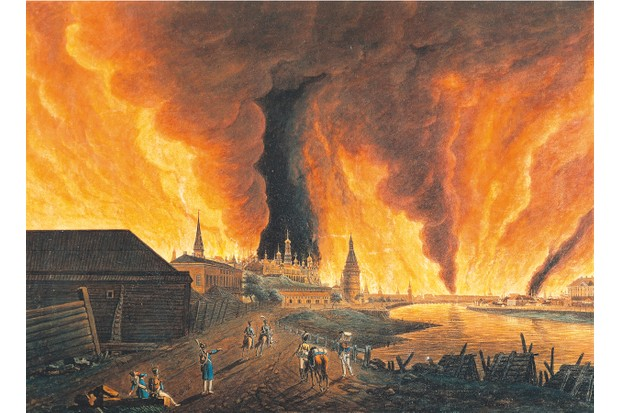 Flames engulf the Kremlin in Christian Johann Oldendorp's 19th-century engraving of the burning of Moscow. Napoleon – who had come to claim the city's surrender – could only watch in despair as it burned before him. (Getty)