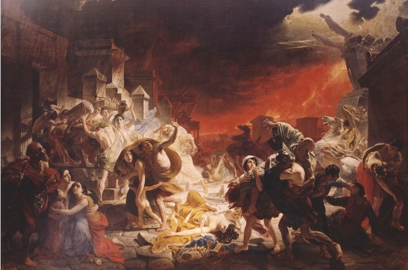 ITALY - CIRCA 2002:  The last days of Pompeii, August 24, 79, by Karl Brjullov (1799-1852), 1830, oil on canvas, 456.5x651 cm. Flavian dynasty, Italy, 1st century. (Photo by DeAgostini/Getty Images)